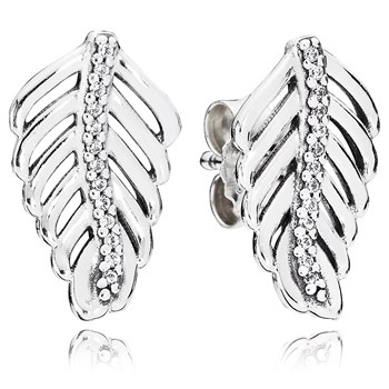 PANDORA Shimmering Feathers with Clear CZ Stud Earrings-804-418