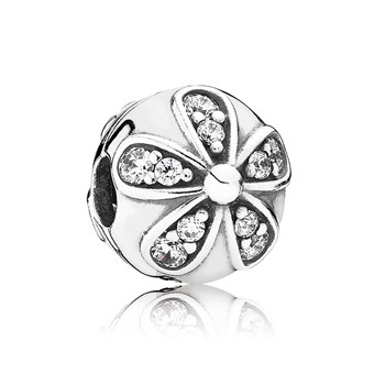 PANDORA Dazzling Daisies with Clear CZ Clip-802-2855