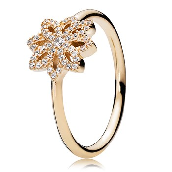 PANDORA 14K Lace Botanique with Clear CZ Ring