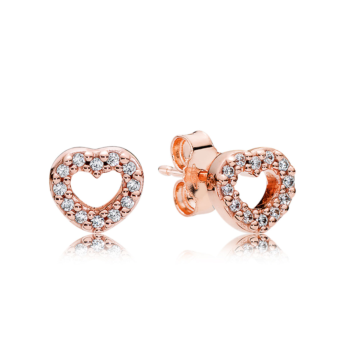PANDORA Rose™ Captured Hearts with Clear CZ Earrings