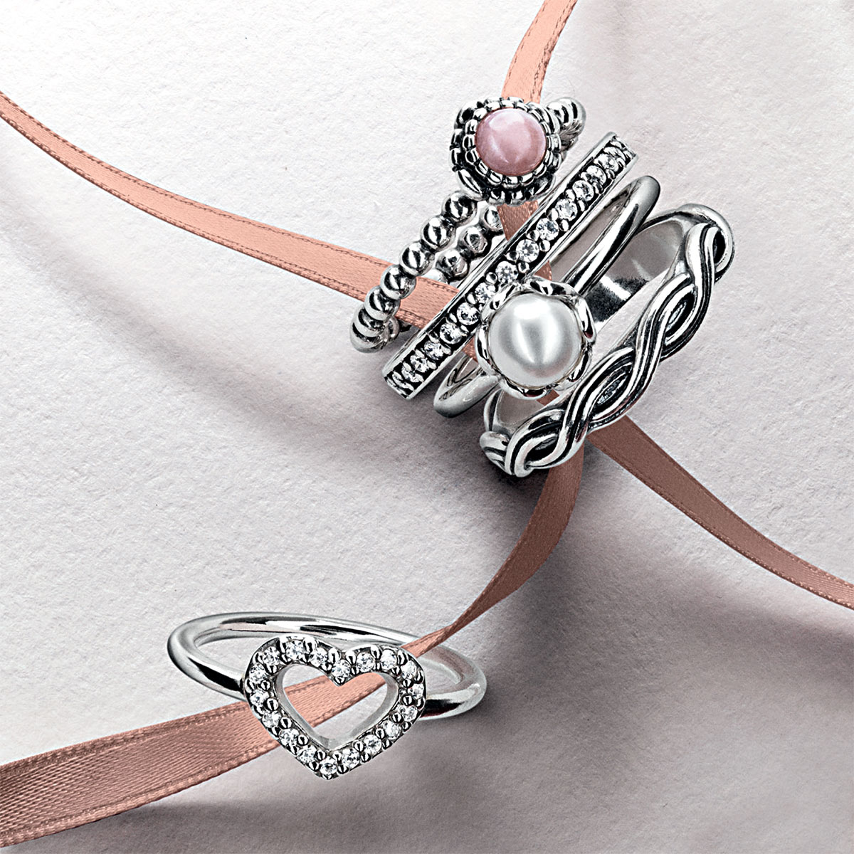 PANDORA Pink Opal October Birthday Bloom Stackable Ring -  Pancharmbracelets.com