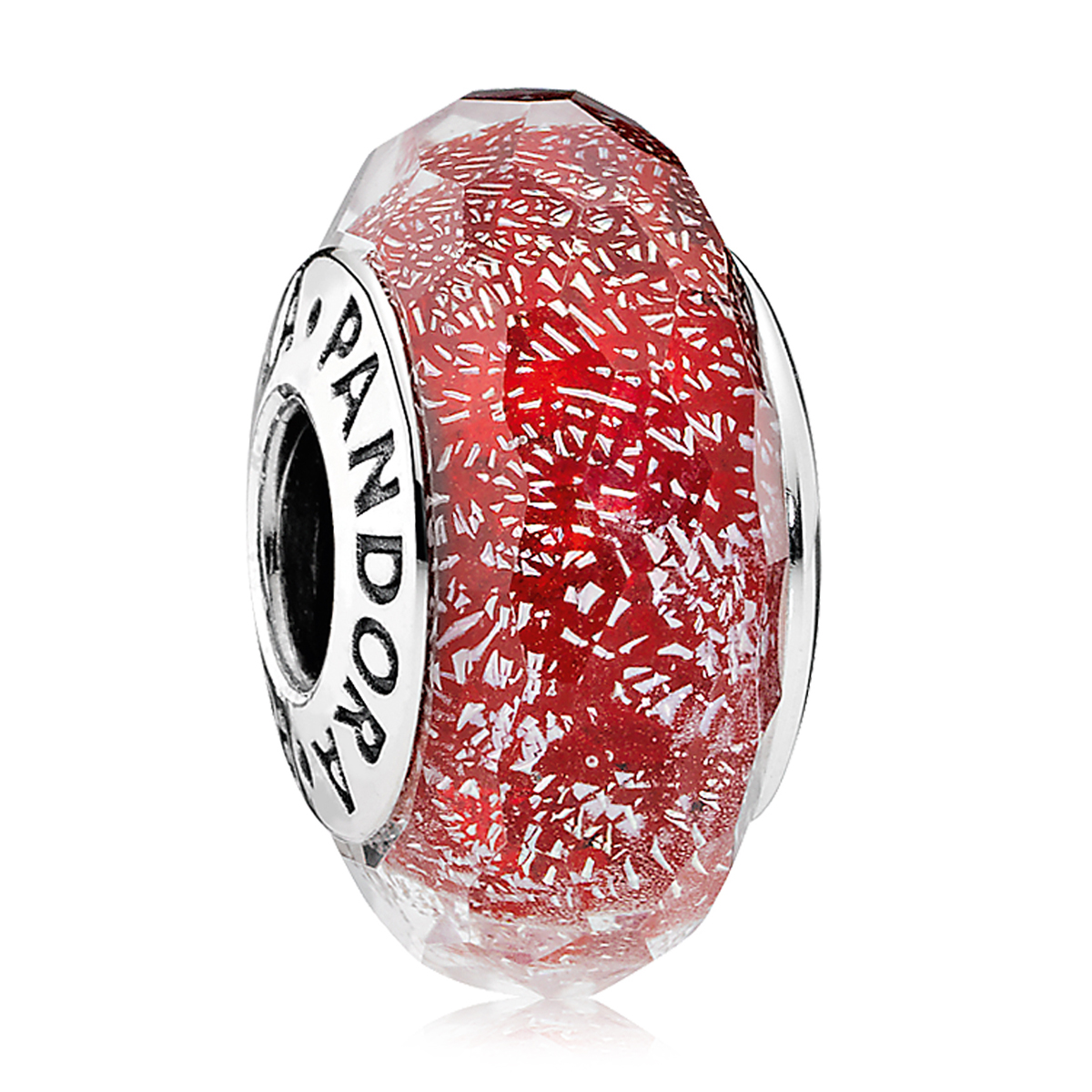 Pandora Red Shimmer Murano Glass