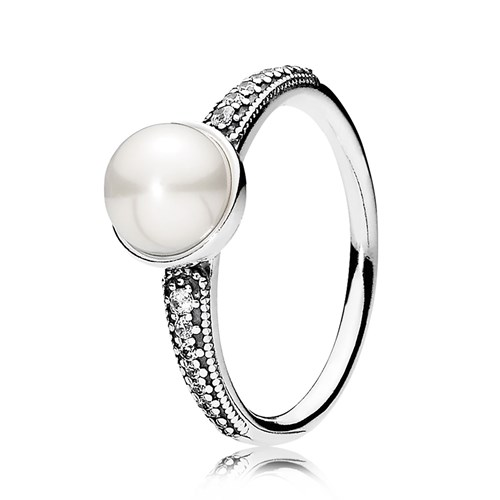 PANDORA Elegant Beauty, White Pearl & Clear CZ Ring