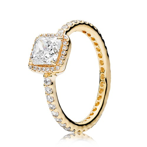 PANDORA Timeless Elegance, 14K Gold & Clear CZ Ring