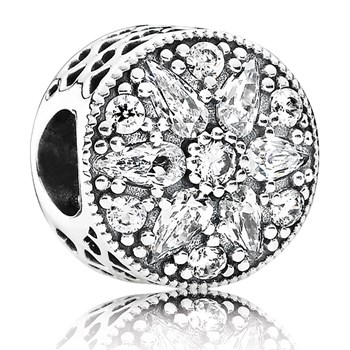 PANDORA Radiant Bloom with Clear CZ Charm