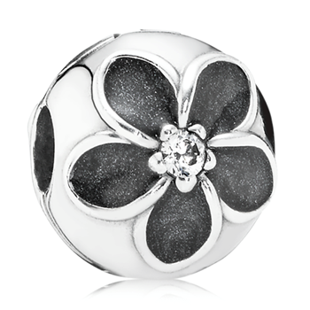 PANDORA Mystic Floral with Black Enamel and Clear CZ Clip-348025