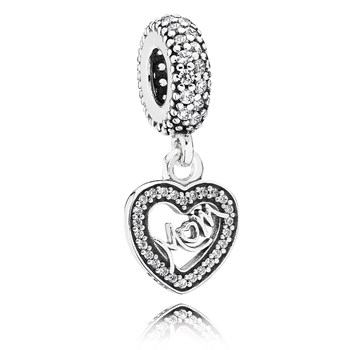 PANDORA Center of My Heart with Clear CZ Dangle *PANDORA Store Exclusive*-802-2961
