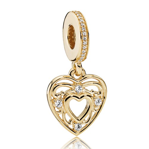 PANDORA Romantic Heart, Clear CZ Charm