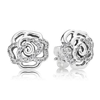 PANDORA Shimmering Rose with Clear CZ Stud Earrings-804-391