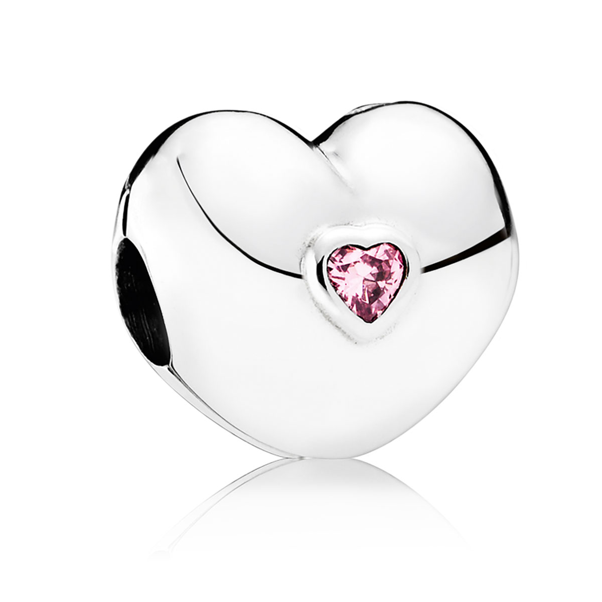 PANDORA Steady Heart with Pink CZ Clip