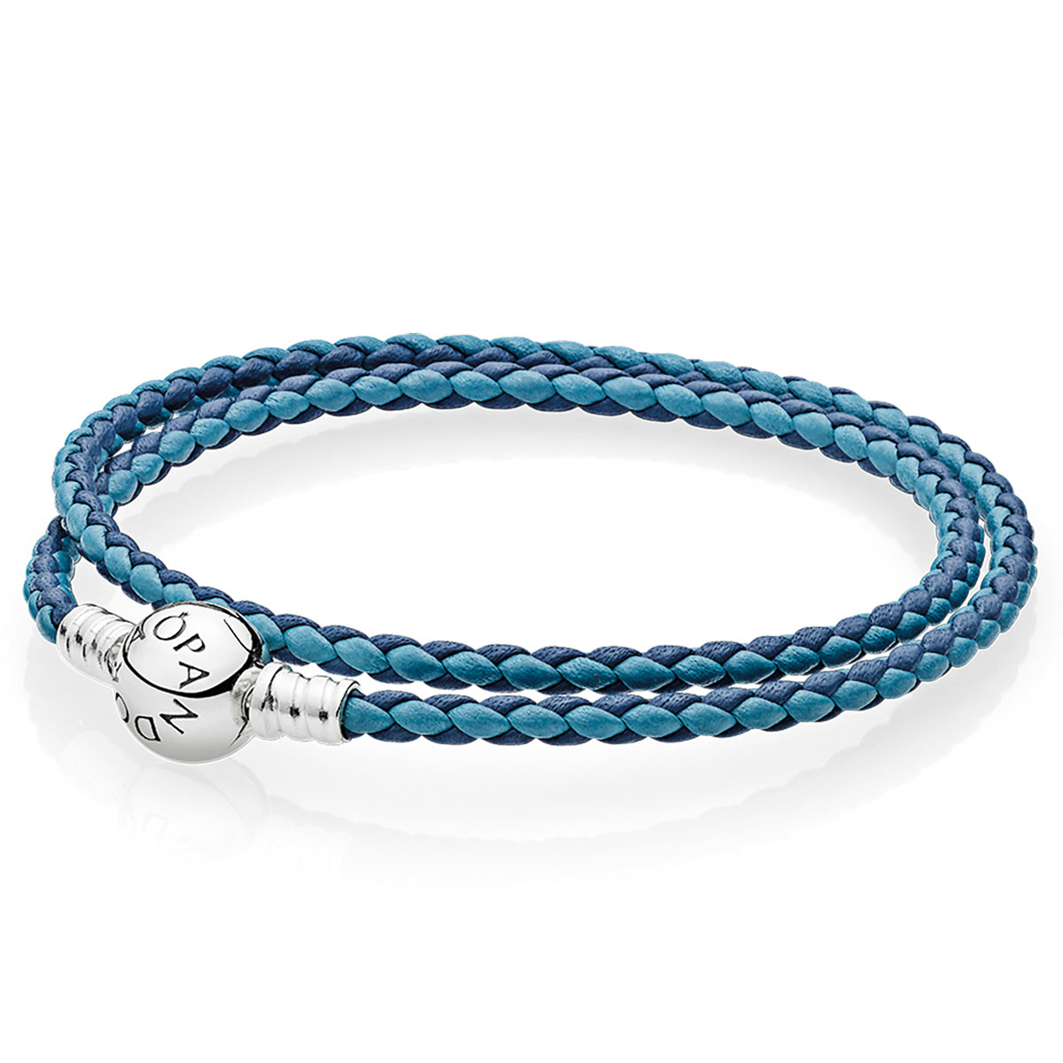 Pandora Mixed Blue Woven Doubleleather Charm Bracelet