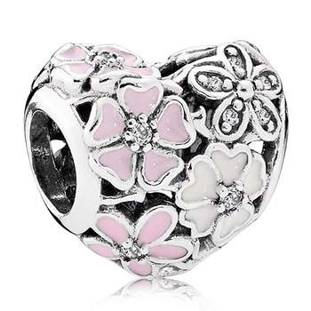 PANDORA Poetic Blooms with Enamel and Clear CZ Charm