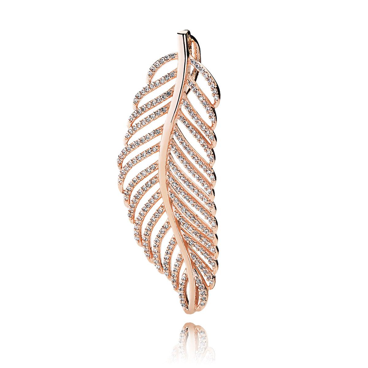 6bfa85c44 pandora golden light as a feather with clear cz charm