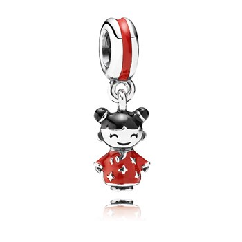 PANDORA Chinese Doll with Red and Black Enamel Dangle-802-2842