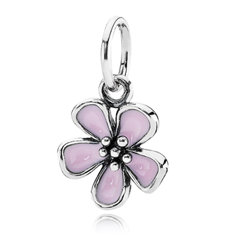 PANDORA Cherry Blossom with Pink Enamel Stories Pendant 342940