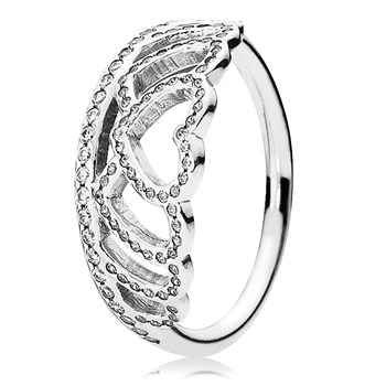 PANDORA Hearts Tiara with Clear CZ Ring