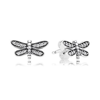 PANDORA Petite Dragonfly with Clear CZ Stud Earrings-804-384