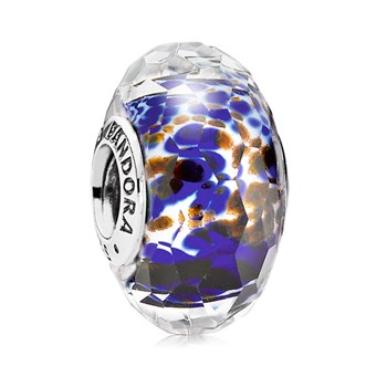 PANDORA Deep Ocean Sea Glass Faceted Murano Glass 343453 RETIRED