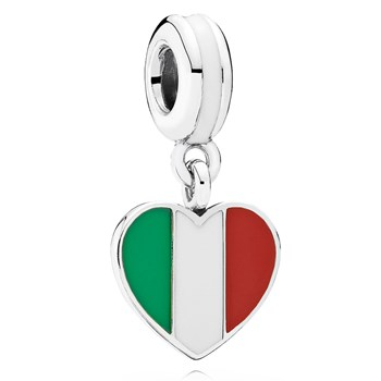 PANDORA Italy Heart Flag with Enamel Dangle-802-3017