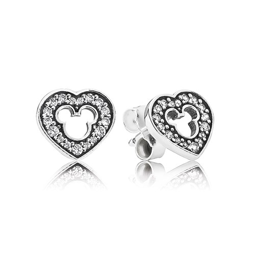 PANDORA Disney Mickey Silhouette with Clear CZ Stud Earrings