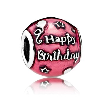 PANDORA Birthday Celebration with Transparent Cerise Enamel Charm