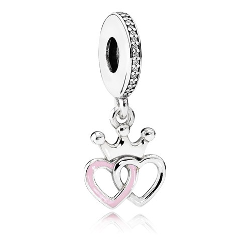PANDORA Crowned Hearts with Orchid Pink Enamel & Clear CZ