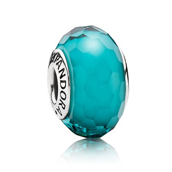 PANDORA Fascinating Teal Faceted Murano Glass 343450