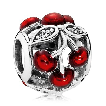 PANDORA Sweet Cherries with Glossy Red Enamel & Clear CZ Charm