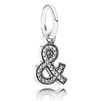 346435-PANDORA Ampersand with Clear CZ Pendant RETIRED LIMITED QUANTITIES!