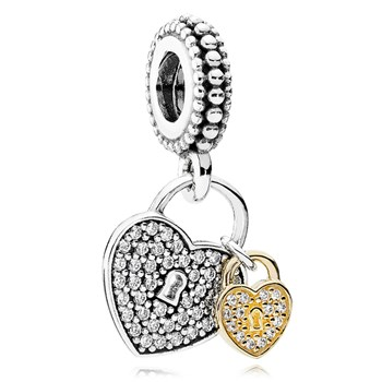 PANDORA Love Locks with 14K and Clear CZ Dangle