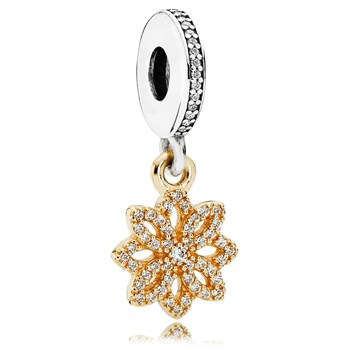 PANDORA Lace Botanique with 14K and Clear CZ Dangle-802-3097
