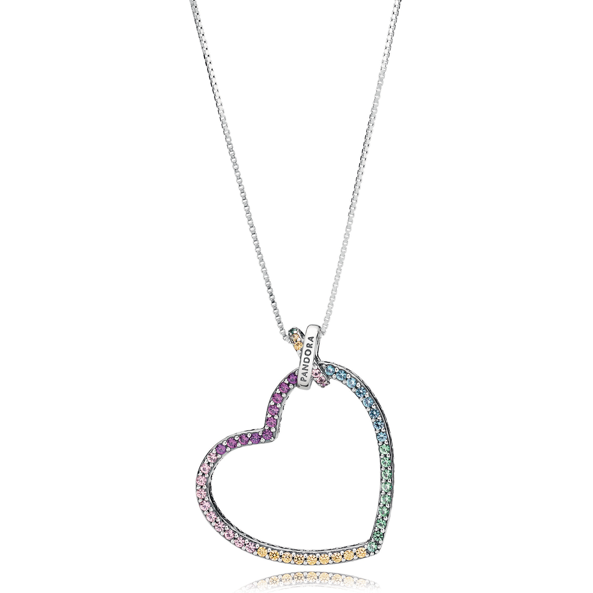 heart sterling natalia zirconia cubic diamonflash necklace silver real jewellery