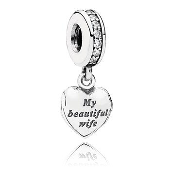 PANDORA My Beautiful Wife with Clear CZ Dangle-802-2975