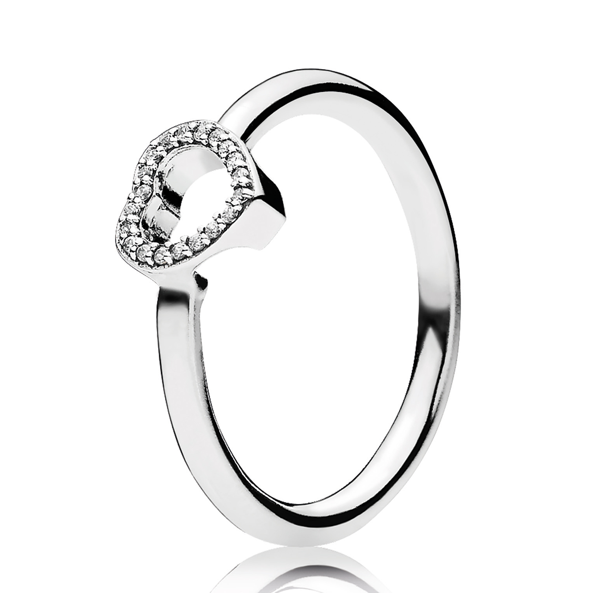 ... PANDORA Puzzle Heart Frame Clear CZ Ring ...