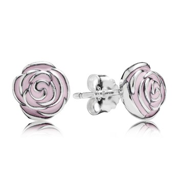 PANDORA Rose Garden with Pink Enamel Stud Earrings-347048