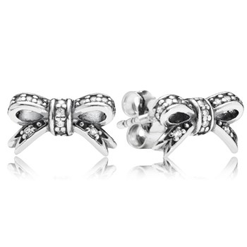 PANDORA Sparkling Bow with Clear CZ Stud Earrings-347049