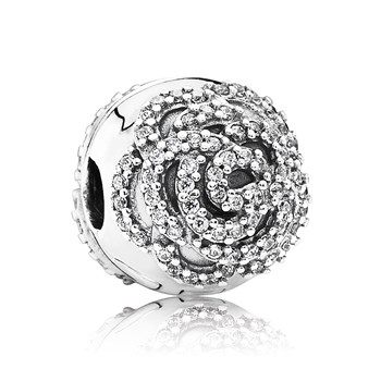 PANDORA Shimmering Rose with Clear CZ Clip-802-3029