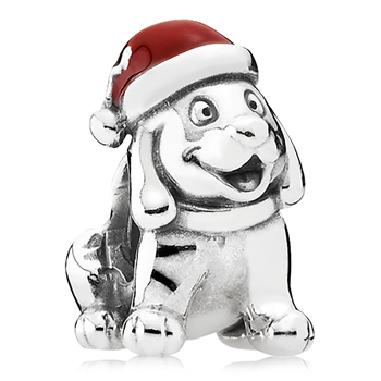 PANDORA Christmas Puppy with Red Enamel Charm 802-3132