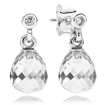 PANDORA Geometric Drops with Clear CZ Dangle Earrings-804-425