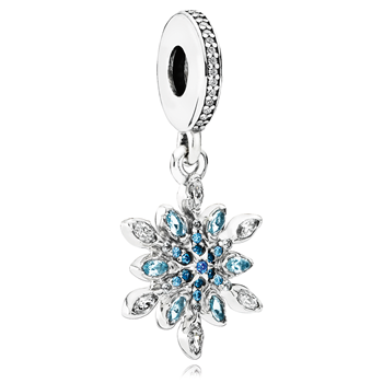 PANDORA Crystalized Snowflake with Blue Crystals and Clear CZ Dangle 802-3154