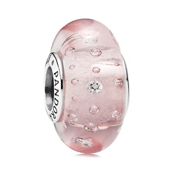 PANDORA Pink Effervescence Murano Glass with CZ 344243 RETIRED