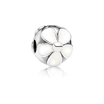 PANDORA Darling Daisies with White Enamel Clip-346380