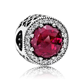 PANDORA Radiant Hearts with Cerise Crystal & Clear CZ