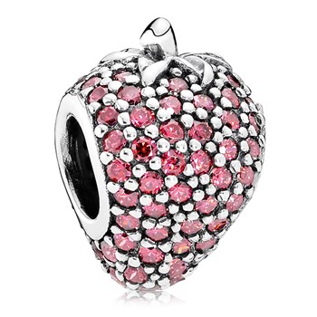 PANDORA Pavé Strawberry with Red CZ Charm