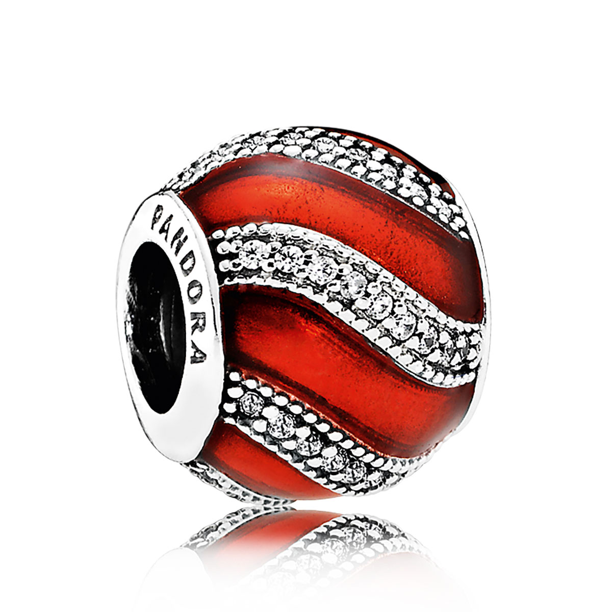 Pandora Adornment, Translucent Red Enamel &