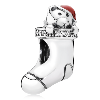 PANDORA Christmas Stocking with Red Enamel and Clear CZ Charm 802-3136