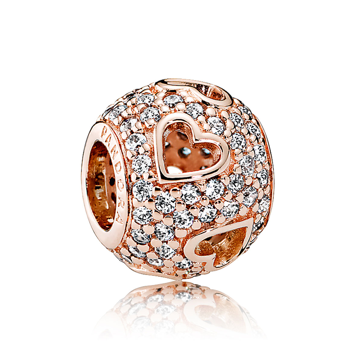 PANDORA Rose™ Tumbling Hearts with Clear CZ