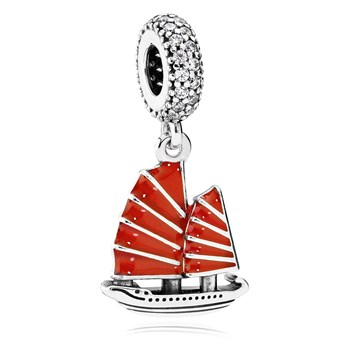 PANDORA Chinese Junk Ship with Red Enamel & Clear CZ Dangle
