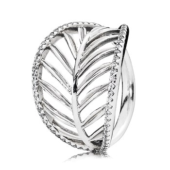 PANDORA Tropical Palm with Clear CZ Ring RETIRED