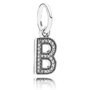 PANDORA Letter B with Clear CZ Pendant-346437